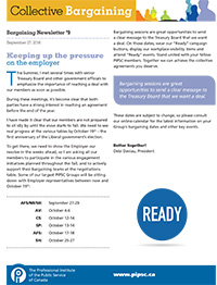 Bargaining Newsletter #9 - Keeping up the pressure on the employer
